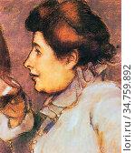 Rippl-Ronai Jozsef - Frau Mit Glas - Hungarian School - 19th Century. Стоковое фото, фотограф Artepics / age Fotostock / Фотобанк Лори
