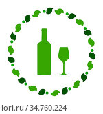 Weinglas und Kranz - Wine glass and wreath. Стоковое фото, фотограф Zoonar.com/Robert Biedermann / easy Fotostock / Фотобанк Лори