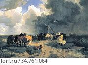 Lotz Károly - Stud in a Thunderstorm - Hungarian School - 19th Century... (2020 год). Редакционное фото, фотограф Artepics / age Fotostock / Фотобанк Лори