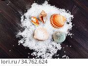 Top view of coarse grained Sea Salt and seashells on dark brown wooden... Стоковое фото, фотограф Zoonar.com/Valery Voennyy / easy Fotostock / Фотобанк Лори