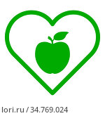 Apfel und Herz - Apple and heart. Стоковое фото, фотограф Zoonar.com/Robert Biedermann / easy Fotostock / Фотобанк Лори