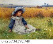 Affleck William - Far Away Thoughts - British School - 19th Century. Стоковое фото, фотограф Artepics / age Fotostock / Фотобанк Лори