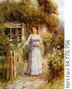 Affleck William - Sweet Memories - British School - 19th Century. Стоковое фото, фотограф Artepics / age Fotostock / Фотобанк Лори