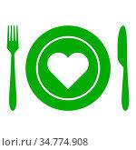 Herz und Besteck - Heart and cutlery. Стоковое фото, фотограф Zoonar.com/Robert Biedermann / easy Fotostock / Фотобанк Лори