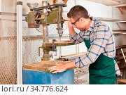 Mann als Schreiner arbeitet an einer Bohrmaschine in der Schreinerei... Стоковое фото, фотограф Zoonar.com/Robert Kneschke / age Fotostock / Фотобанк Лори
