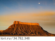 Factory Butte and moon setting  near Hanksville, Utah, USA. March 2019. Стоковое фото, фотограф Jeff Vanuga / Nature Picture Library / Фотобанк Лори