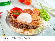 Fried catfish rice with sambal, popular traditional Malay or Indonesian... Стоковое фото, фотограф Zoonar.com/szefei / easy Fotostock / Фотобанк Лори