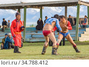 Wrestlers at the Darhat Valley naadam celebration. Mongolia. August 2005. Стоковое фото, фотограф Jeff Foott / Nature Picture Library / Фотобанк Лори