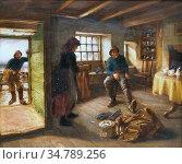 Pratt Jonathan - Deparure for Fishing - British School - 19th Century. Редакционное фото, фотограф Artepics / age Fotostock / Фотобанк Лори