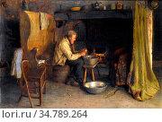 Pratt Jonathan - Peeling the Spuds - British School - 19th Century. Редакционное фото, фотограф Artepics / age Fotostock / Фотобанк Лори