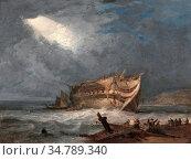Prout Samuel - the Wreck of the Dutton an East Indiaman - British... Редакционное фото, фотограф Artepics / age Fotostock / Фотобанк Лори
