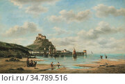 Musin Auguste Henri - Beach Landscape Jersey - Belgian School - 19th... Редакционное фото, фотограф Artepics / age Fotostock / Фотобанк Лори