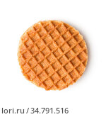 Sweet waffle biscuits isolated on white background. Dutch waffles... Стоковое фото, фотограф Zoonar.com/JIRI HERA / easy Fotostock / Фотобанк Лори