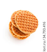Sweet waffle biscuits isolated on white background. Стоковое фото, фотограф Zoonar.com/JIRI HERA / easy Fotostock / Фотобанк Лори