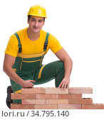 The handsome construction worker building brick wall. Стоковое фото, фотограф Elnur / Фотобанк Лори