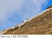 Small cairn marks the path on the mountainside. Стоковое фото, фотограф Евгений Харитонов / Фотобанк Лори