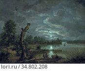 Dahl Johan Christian Clausen - Lake Esrom by Moonlight - Norwegian... Редакционное фото, фотограф Artepics / age Fotostock / Фотобанк Лори