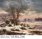 Dahl Johan Christian Clausen - Megalithic Grave in Winter 2 - Norwegian... Редакционное фото, фотограф Artepics / age Fotostock / Фотобанк Лори