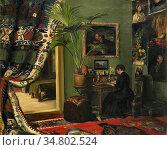 Gram. Andrea Kleen - Interiör - Norwegian School - 19th Century. Редакционное фото, фотограф Artepics / age Fotostock / Фотобанк Лори