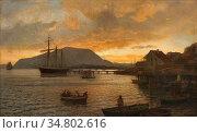 Gude Hans Fredrik - Summernight by Drøbak - Norwegian School - 19th... Редакционное фото, фотограф Artepics / age Fotostock / Фотобанк Лори
