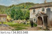 Munthe Gerhard - Ulvin - Norwegian School - 19th Century. Редакционное фото, фотограф Artepics / age Fotostock / Фотобанк Лори