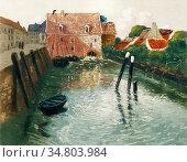Thaulow Frits - Kanal Med Vannmolle - Norwegian School - 19th Century. Редакционное фото, фотограф Artepics / age Fotostock / Фотобанк Лори
