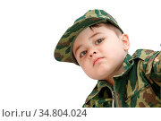 Little Caucasian boy in military clothes isolated on light background. Стоковое фото, фотограф Zoonar.com/Azat_Jan / easy Fotostock / Фотобанк Лори