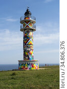 The Lighthouse of the Cantabrian town of Ajo (Bareyo) decorated by... Стоковое фото, фотограф Joaquín Gómez / age Fotostock / Фотобанк Лори
