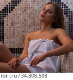 Sexy girl relaxing in sauna hamam. Стоковое фото, фотограф Гурьянов Андрей / Фотобанк Лори