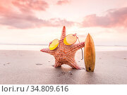 Starfish surfer on the beach and beautiful sunset on Bali on background... Стоковое фото, фотограф Zoonar.com/Ivan Mikhaylov / easy Fotostock / Фотобанк Лори