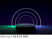 3d render, abstract geometric background, cylinder podium, minimalistic... Стоковое фото, фотограф Zoonar.com/Ake Puttisarn / easy Fotostock / Фотобанк Лори