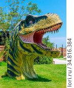 Heraklion, Greece - July 23, 2014: Tyrannosaurus Rex Dinosaur head... Стоковое фото, фотограф Zoonar.com/Ruslan Gilmanshin / easy Fotostock / Фотобанк Лори