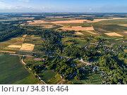 Country landscape, aerial view. Стоковое фото, фотограф Андрей Радченко / Фотобанк Лори
