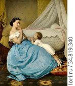 Toulmouche Auguste - a Bedtime Prayer (La Prière) - French School... Редакционное фото, фотограф Artepics / age Fotostock / Фотобанк Лори