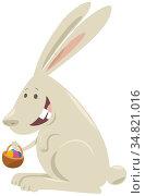 Cartoon Illustration of Happy Easter Bunny with Basket of Colored Eggs. Стоковое фото, фотограф Zoonar.com/Igor Zakowski / easy Fotostock / Фотобанк Лори
