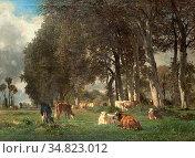 Troyon Constant - Un Sous Bois Avec Des Vaches - French School - ... Редакционное фото, фотограф Artepics / age Fotostock / Фотобанк Лори