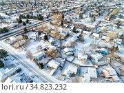 Aerial view of typical residential neighborhood along Front Range... Стоковое фото, фотограф Zoonar.com/Marek Uliasz / easy Fotostock / Фотобанк Лори