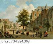 Hove Bart Van - Drukbevolkt Marktplein in Een Hollands Stadje - Dutch... Редакционное фото, фотограф Artepics / age Fotostock / Фотобанк Лори