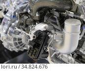 Close up detail of tuned car engine. Стоковое фото, фотограф Zoonar.com/Alexander Strela / easy Fotostock / Фотобанк Лори