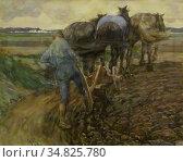 Josselin De Jong Pieter - Boer Met Ploegende Paarden - Dutch School... Редакционное фото, фотограф Artepics / age Fotostock / Фотобанк Лори