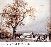 Koekkoek Barend Cornelis - Cows in a Sunlit Meadow (Pen and Brown... Редакционное фото, фотограф Artepics / age Fotostock / Фотобанк Лори