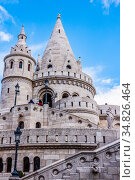 View of the Halaszbastya or Fisherman's Bastion in Budapest, Hungary, built in the Neo-Romanesque style in 1895 (2016 год). Стоковое фото, фотограф Сергей Фролов / Фотобанк Лори