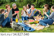 People of different ages sitting and talking on picnic. Стоковое фото, фотограф Яков Филимонов / Фотобанк Лори