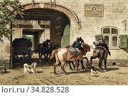 Nakken Willem - Binnenplaats Met Vier Paarden - Dutch School - 19th... Редакционное фото, фотограф Artepics / age Fotostock / Фотобанк Лори