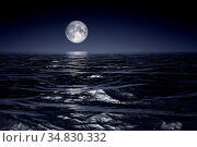 Wide ocean waves horizon moon night background 3D illustration. Стоковое фото, фотограф Zoonar.com/magann / easy Fotostock / Фотобанк Лори