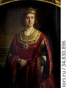 Queen Isabella the Catholic portrait. Painted by Joaquin Dominguez... Редакционное фото, фотограф Juan García Aunión / age Fotostock / Фотобанк Лори