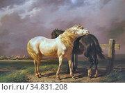 Verschuur I Wouterus - Paarden in De Weide - Dutch School - 19th ... Редакционное фото, фотограф Artepics / age Fotostock / Фотобанк Лори