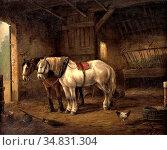 Verschuur II Wouter - Twee Paarden in De Stal - Dutch School - 19th... Редакционное фото, фотограф Artepics / age Fotostock / Фотобанк Лори