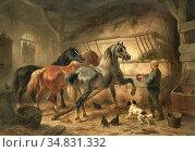 Verschuur I Wouterus - Paarden in Een Stal - Dutch School - 19th ... Редакционное фото, фотограф Artepics / age Fotostock / Фотобанк Лори
