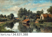 Vester Willem - Waterloop in De Zon - Dutch School - 19th Century. Редакционное фото, фотограф Artepics / age Fotostock / Фотобанк Лори